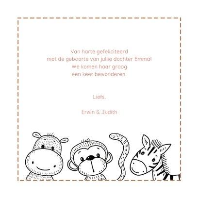 Felicitatiekaart geboorte safaridieren om een rechthoek 3