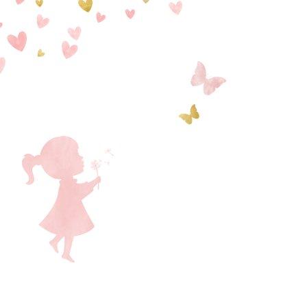 Felicitatiekaart geboorte silhouet meisje met hartjes  2
