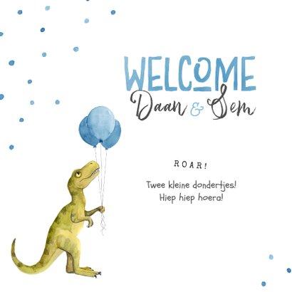 Felicitatiekaart geboorte tweeling dinosaurus double trouble 2