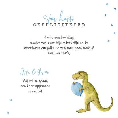 Felicitatiekaart geboorte tweeling dinosaurus double trouble 3