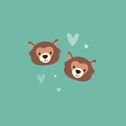 Felicitatiekaart geboorte tweeling double trouble beren hart 2