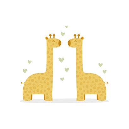 Felicitatiekaart geboorte tweeling giraf met hartjes 2