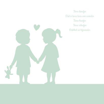 Felicitatiekaart geboorte tweeling silhouet jongen en meisje 2