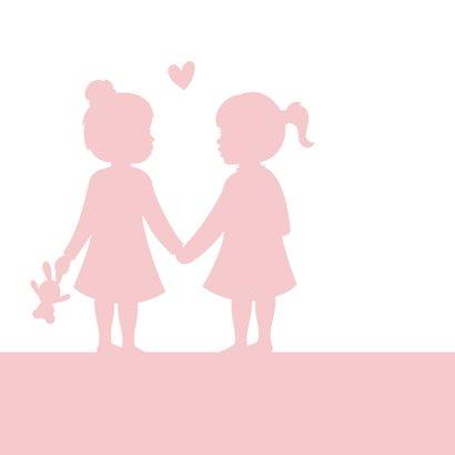 Felicitatiekaart geboorte tweeling silhouet twee meisjes 2