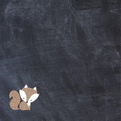 Felicitatiekaart geboorte zoon krijtbord vos 2