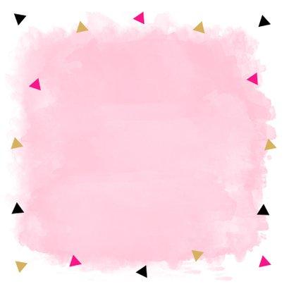 Felicitatiekaart geslaagd waterverf roze driehoekjes 2