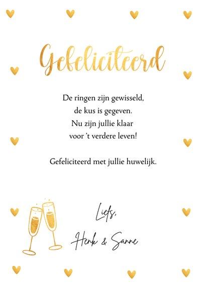 Felicitatiekaart getrouwd typografie hartjes goudlook 3