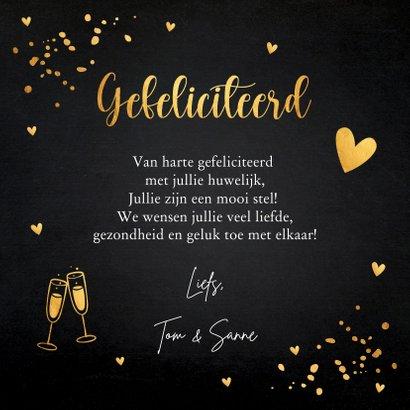 Felicitatiekaart getrouwd zwart confetti goudlook 3