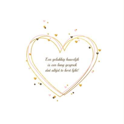 Felicitatiekaart gouden harten met confetti 2