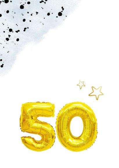 Felicitatiekaart gouden huwelijk 50 jaar cijferballon 2