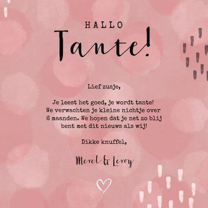 Felicitatiekaart 'Hallo Tante!' waterverf stippen meisje 3