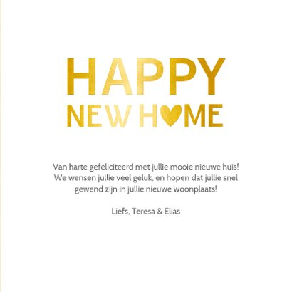 Felicitatiekaart happy new home goud 3