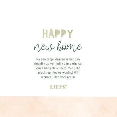 Felicitatiekaart happy new home met plantjes en verhuisdozen 3