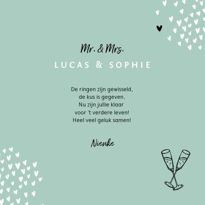 Felicitatiekaart hip hartjes typografie champagne 3
