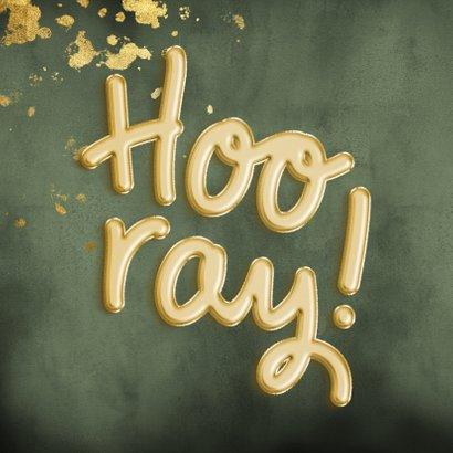 Felicitatiekaart 'Hooray!' ballonnen met groene waterverf 2
