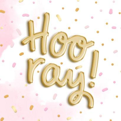 Felicitatiekaart 'Hooray!' ballonnen met waterverf 2