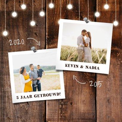 felicitatiekaart hout met hangende lampjes en foto's 2