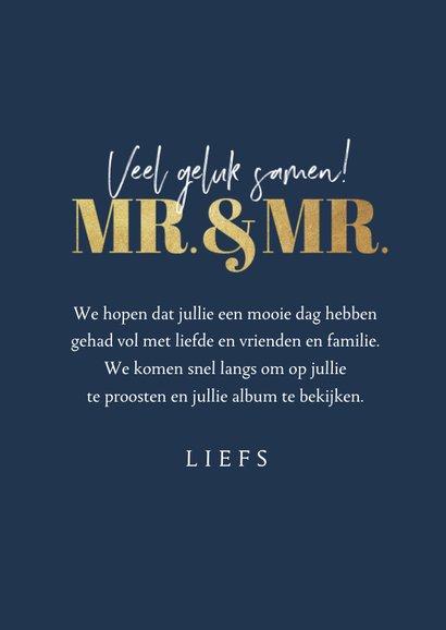 Felicitatiekaart huwelijk gay homo mr. and mr. foto hartjes 3