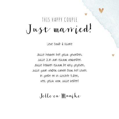 Felicitatiekaart huwelijk getrouwd wegwijzers goud confetti  3