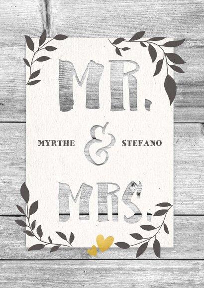 Felicitatiekaart huwelijk hout met takjes en typografie 2