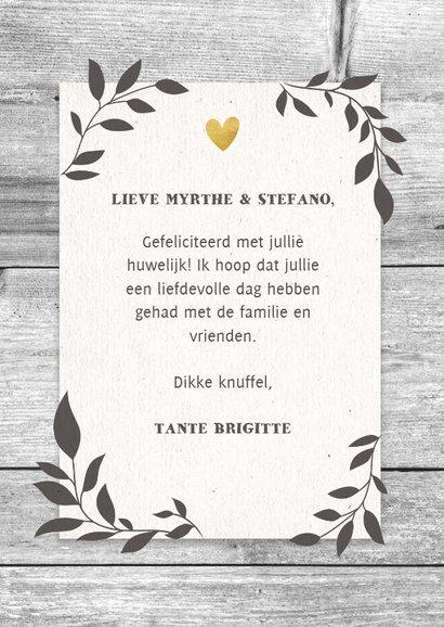 Felicitatiekaart huwelijk hout met takjes en typografie 3
