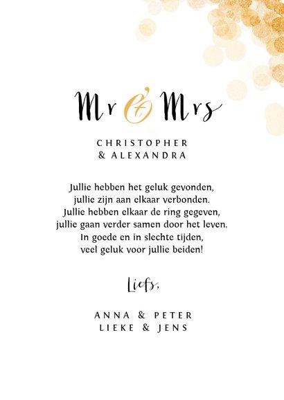 Felicitatiekaart huwelijk mr and mrs goud confetti stijlvol 3