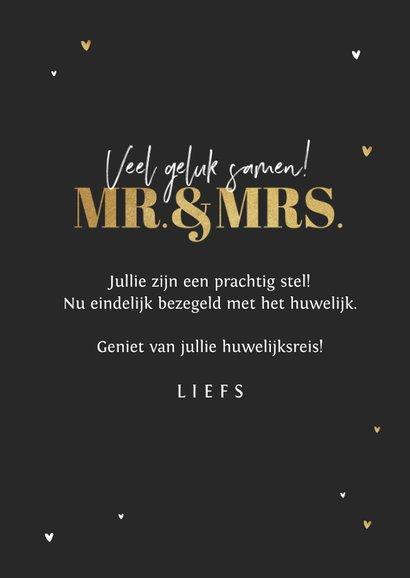 Felicitatiekaart huwelijk mr and mrs silhouet goud hartjes 3