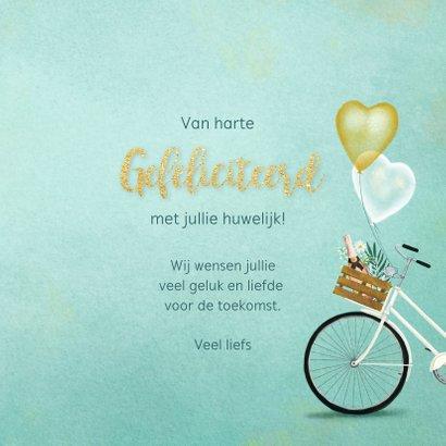 Felicitatiekaart huwelijk tandem met bloemen en ballonnen 3