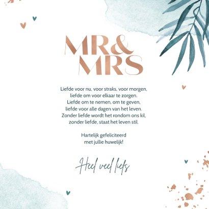 Felicitatiekaart huwelijk trouwen Mr & Mrs goud waterverf 3