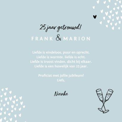 Felicitatiekaart huwelijksjubileum 25 jaar getrouwd hartjes 3