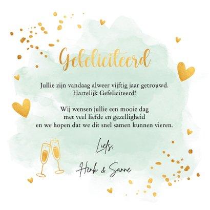 Felicitatiekaart huwelijksjubileum waterverf mintgroen foto 3