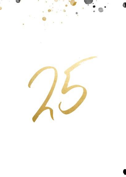 Felicitatiekaart jubileum '25' met spetters en foto 2