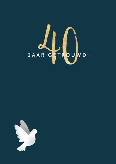 Felicitatiekaart jubileum '40' met duifjes en spetters 2