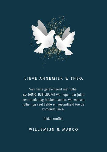 Felicitatiekaart jubileum '40' met duifjes en spetters 3