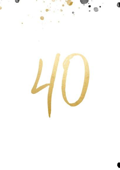 Felicitatiekaart jubileum '40' met spetters en foto 2