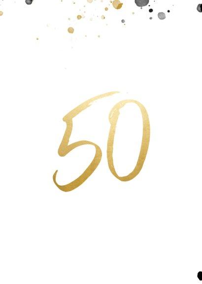 Felicitatiekaart jubileum '50' met foto en spetters 2