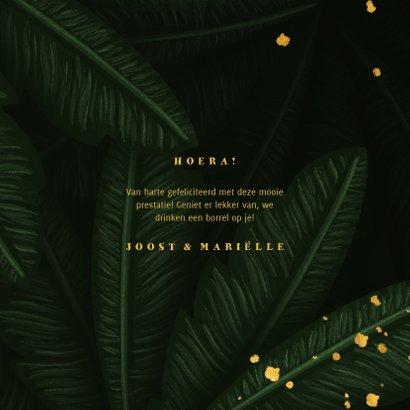 Felicitatiekaart jungle bladeren met gouden 'hoera' 3