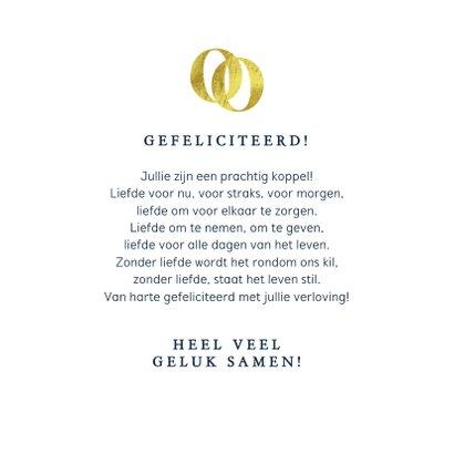 Felicitatiekaart klassiek verloofd ringen goud confetti 3