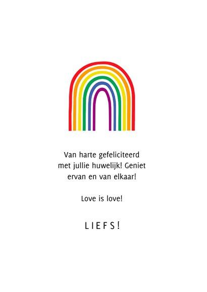 Felicitatiekaart love is love regenboogkleuren 3
