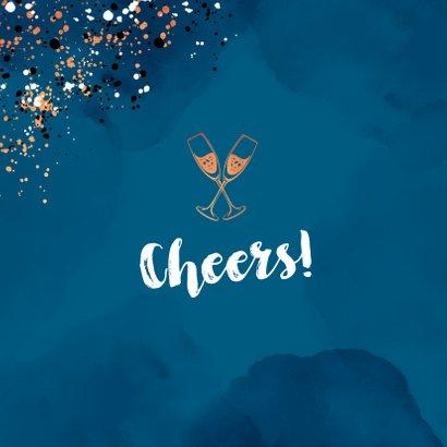 Felicitatiekaart man spetters champagne blauw 2