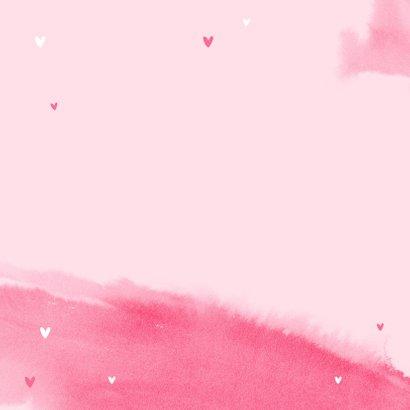Felicitatiekaart meisje baby roze waterverf hartjes 2