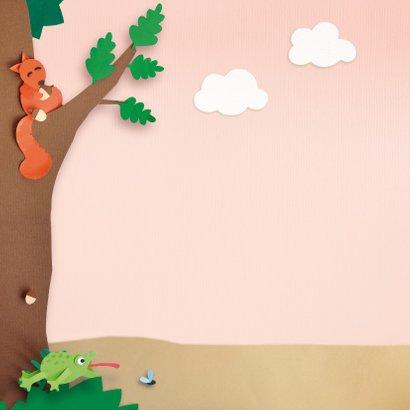 felicitatiekaart meisje dieren in het bos 2
