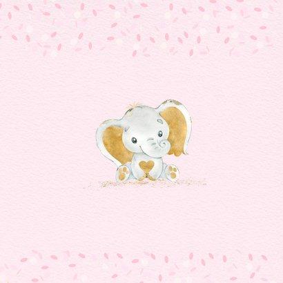 Felicitatiekaart meisje olifant goud 2