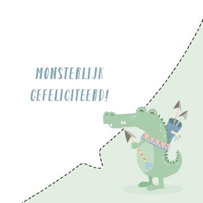 Felicitatiekaart met getekend gezicht van een krokodil. 3