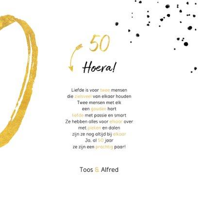 Felicitatiekaart met gouden 50, spetters en foto 3