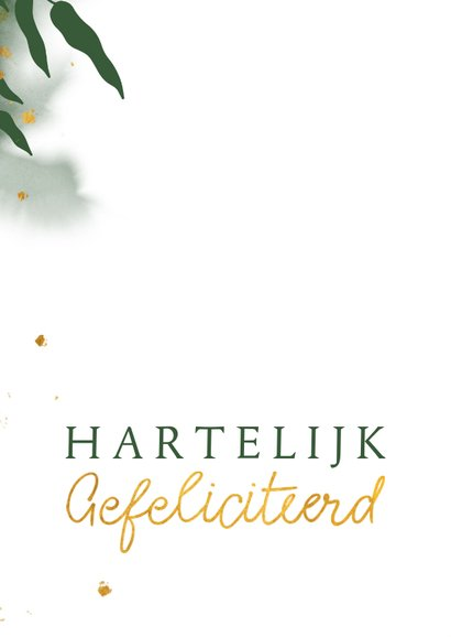 Felicitatiekaart met groene waterverf en gouden bladeren 2