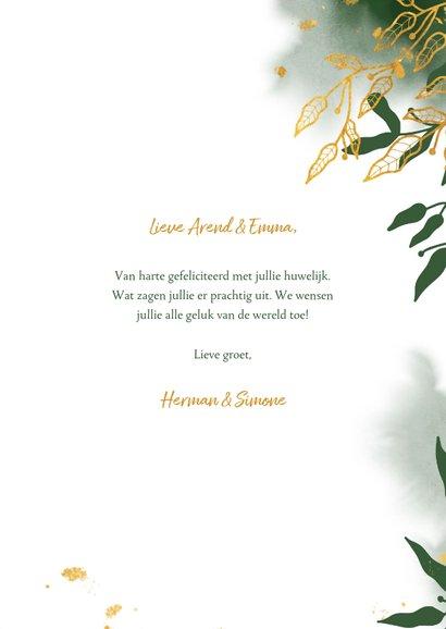 Felicitatiekaart met groene waterverf en gouden bladeren 3