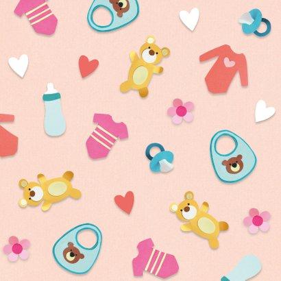 Felicitatiekaart met hartjes en  baby illustraties 2