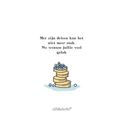 Felicitatiekaart met jongen en beschuit met blauwe muisjes 2