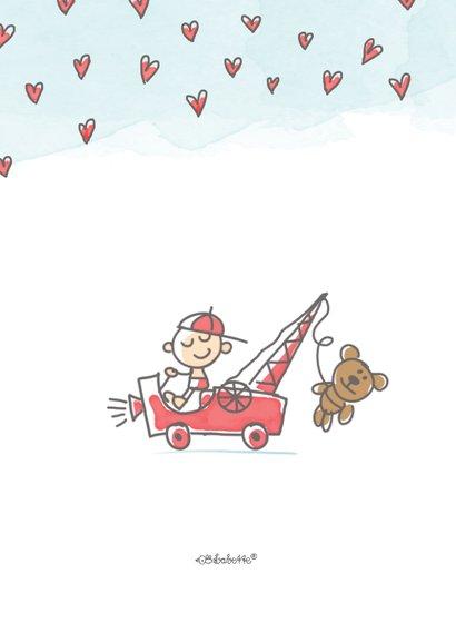 Felicitatiekaart met jongen en kraanwagen met beer 2